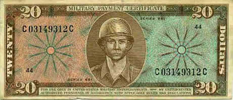 20 Dollar Military Payment Certificate